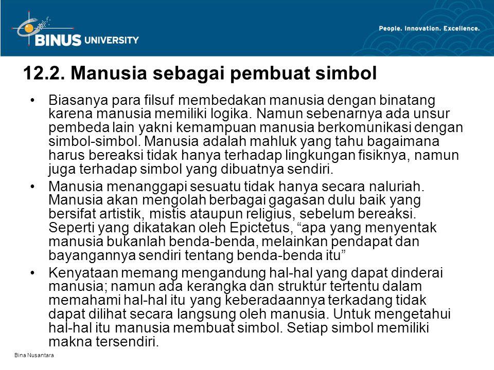 Bina Nusantara 12.2. Manusia sebagai pembuat simbol Biasanya para filsuf membedakan manusia dengan binatang karena manusia memiliki logika. Namun sebe