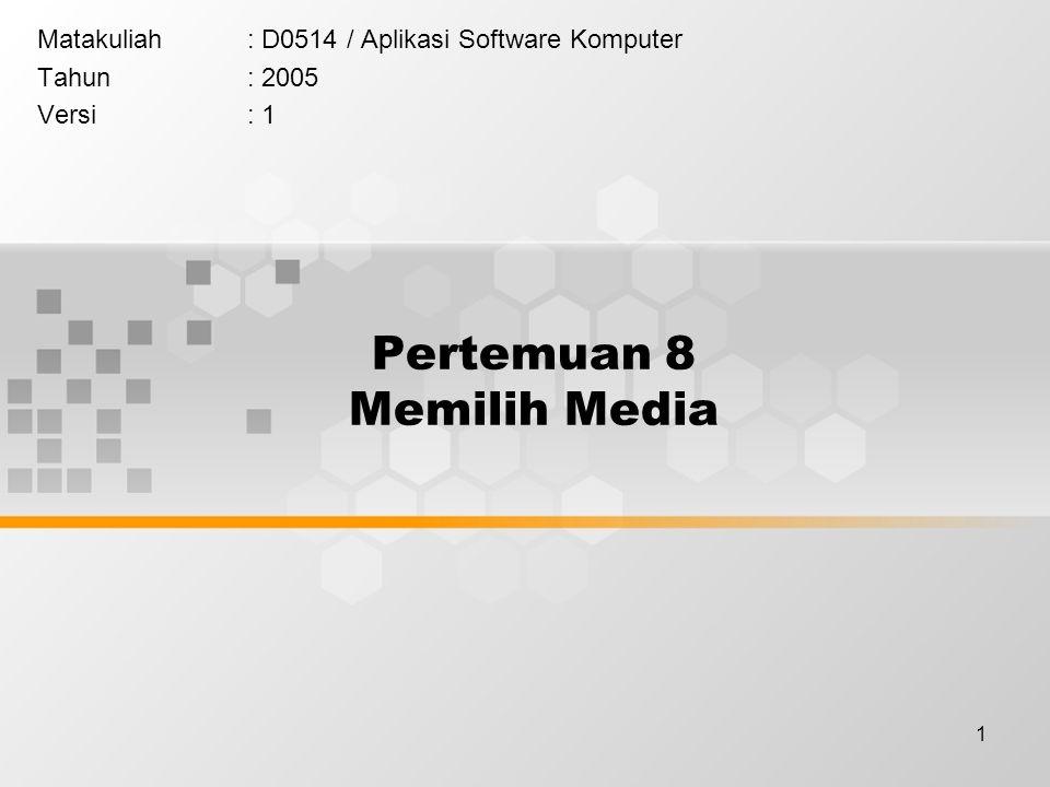 1 Pertemuan 8 Memilih Media Matakuliah: D0514 / Aplikasi Software Komputer Tahun: 2005 Versi: 1
