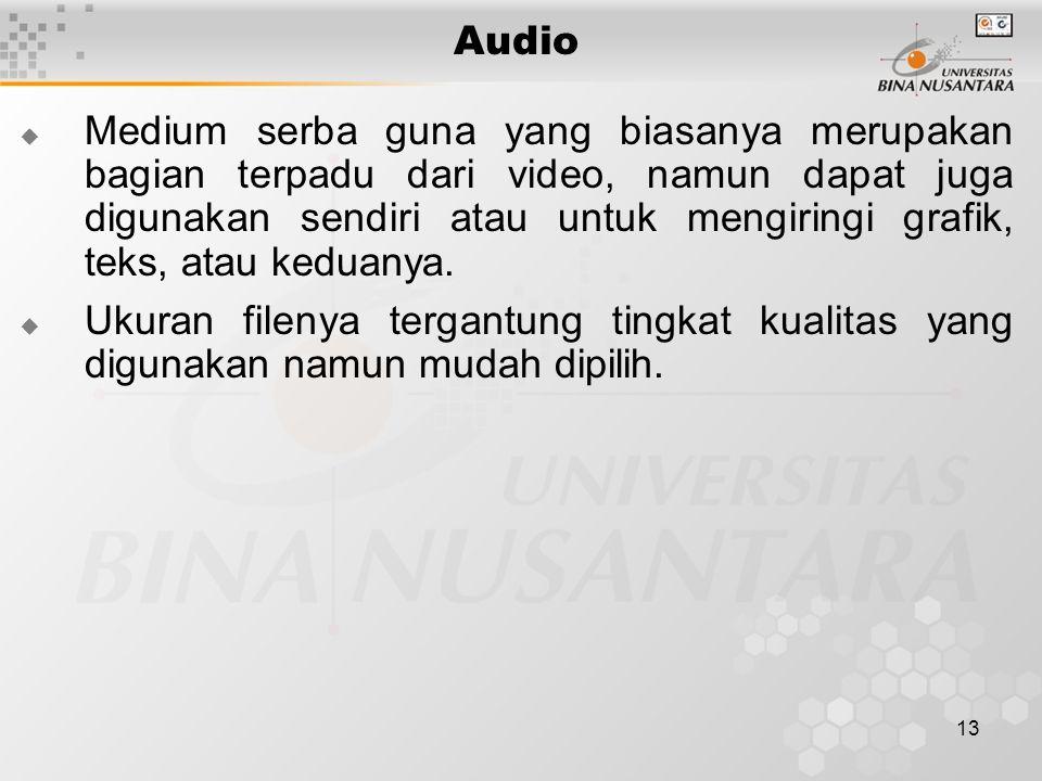13 Audio  Medium serba guna yang biasanya merupakan bagian terpadu dari video, namun dapat juga digunakan sendiri atau untuk mengiringi grafik, teks,