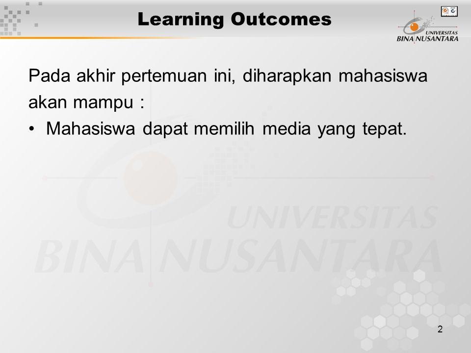 2 Learning Outcomes Pada akhir pertemuan ini, diharapkan mahasiswa akan mampu : Mahasiswa dapat memilih media yang tepat.