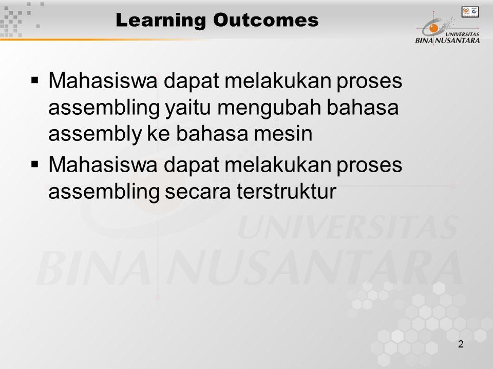 2 Learning Outcomes  Mahasiswa dapat melakukan proses assembling yaitu mengubah bahasa assembly ke bahasa mesin  Mahasiswa dapat melakukan proses as