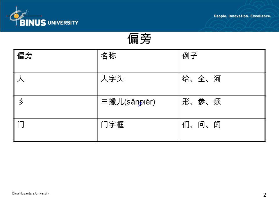 Bina Nusantara University 2 偏旁 名称例子 人人字头给、全、河 彡三撇儿 (sānpiěr) 形、参、须 门门字框们、问、闻