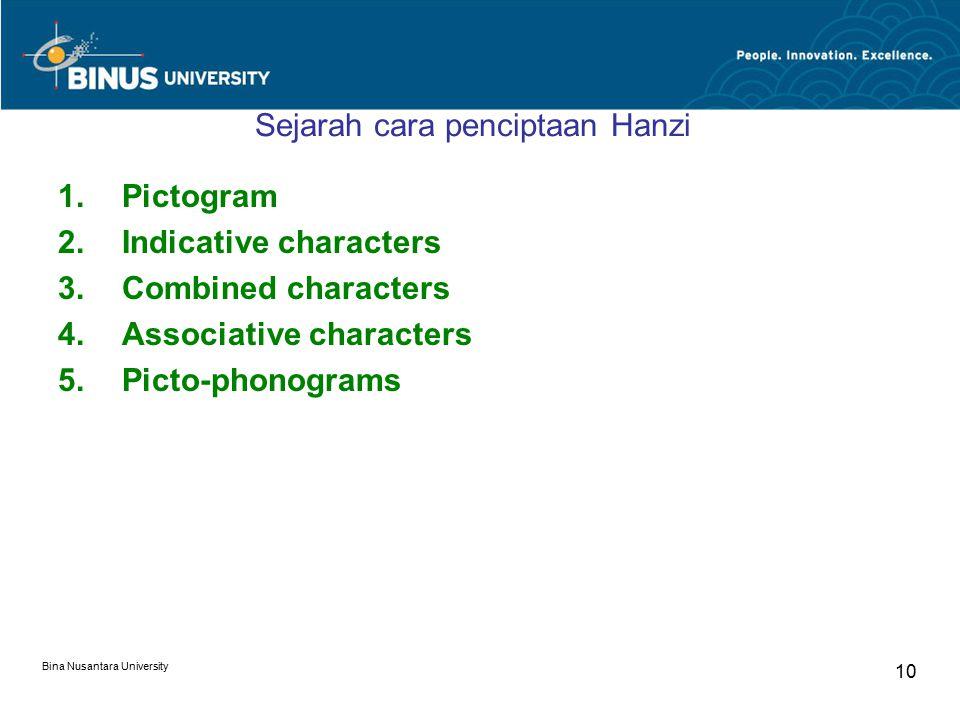 Bina Nusantara University 10 Sejarah cara penciptaan Hanzi 1.Pictogram 2.Indicative characters 3.Combined characters 4.Associative characters 5.Picto-phonograms