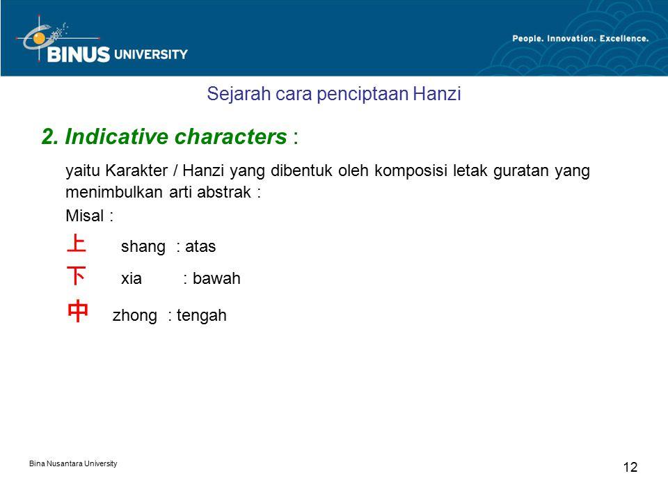 Bina Nusantara University 12 Sejarah cara penciptaan Hanzi 2.
