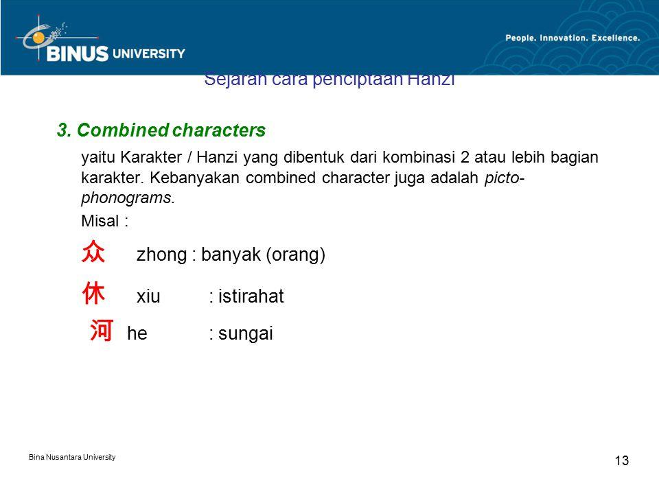 Bina Nusantara University 13 Sejarah cara penciptaan Hanzi 3.