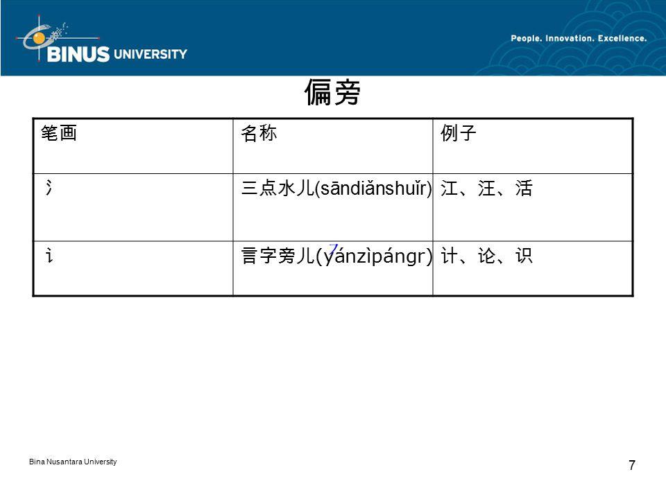 Bina Nusantara University 7 偏旁 笔画名称例子 氵三点水儿 (sāndiǎnshuǐr) 江、汪、活 讠言字旁儿 (yánzìpángr) 计、论、识