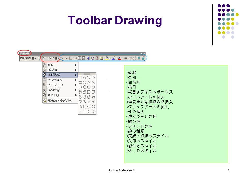 Pokok bahasan 14 Toolbar Drawing  直線  矢印  四角形  楕円  縦書きテキストボックス  ワードアートの挿入  頭表または組織図を挿入  クリップアートの挿入  ずの挿入  塗りつぶしの色  線の色  フォントの色  線の種類  実線