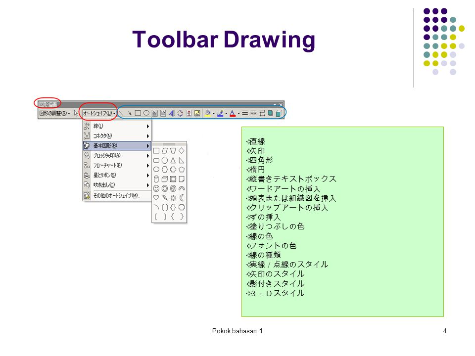 Pokok bahasan 14 Toolbar Drawing  直線  矢印  四角形  楕円  縦書きテキストボックス  ワードアートの挿入  頭表または組織図を挿入  クリップアートの挿入  ずの挿入  塗りつぶしの色  線の色  フォントの色  線の種類  実線/点線のスタイル  矢印のスタイル  影付きスタイル  3-Dスタイル