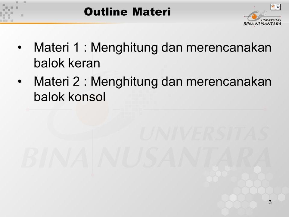 3 Outline Materi Materi 1 : Menghitung dan merencanakan balok keran Materi 2 : Menghitung dan merencanakan balok konsol