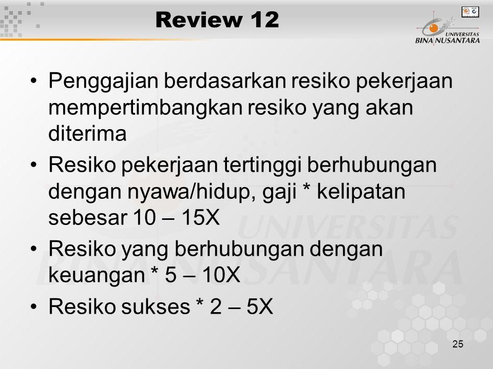 25 Review 12 Penggajian berdasarkan resiko pekerjaan mempertimbangkan resiko yang akan diterima Resiko pekerjaan tertinggi berhubungan dengan nyawa/hidup, gaji * kelipatan sebesar 10 – 15X Resiko yang berhubungan dengan keuangan * 5 – 10X Resiko sukses * 2 – 5X