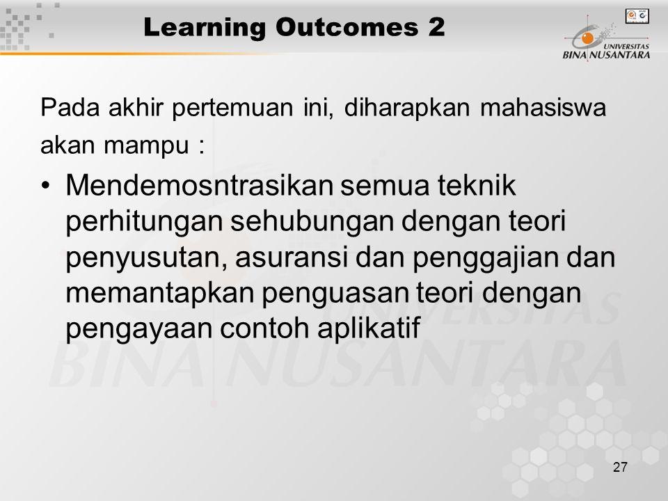 27 Learning Outcomes 2 Pada akhir pertemuan ini, diharapkan mahasiswa akan mampu : Mendemosntrasikan semua teknik perhitungan sehubungan dengan teori penyusutan, asuransi dan penggajian dan memantapkan penguasan teori dengan pengayaan contoh aplikatif
