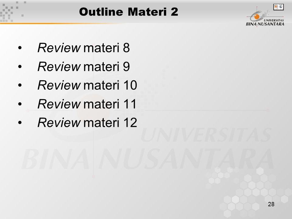 28 Outline Materi 2 Review materi 8 Review materi 9 Review materi 10 Review materi 11 Review materi 12