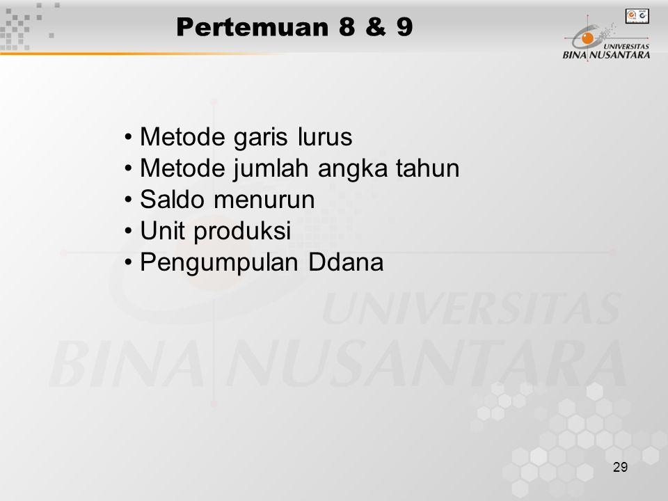 29 Pertemuan 8 & 9 Metode garis lurus Metode jumlah angka tahun Saldo menurun Unit produksi Pengumpulan Ddana