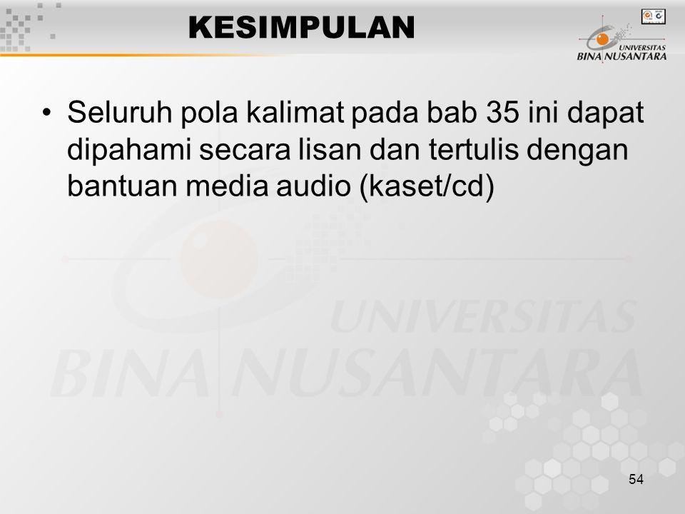 54 KESIMPULAN Seluruh pola kalimat pada bab 35 ini dapat dipahami secara lisan dan tertulis dengan bantuan media audio (kaset/cd)