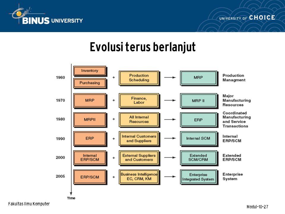 Fakultas Ilmu Komputer Modul-10-27 Evolusi terus berlanjut