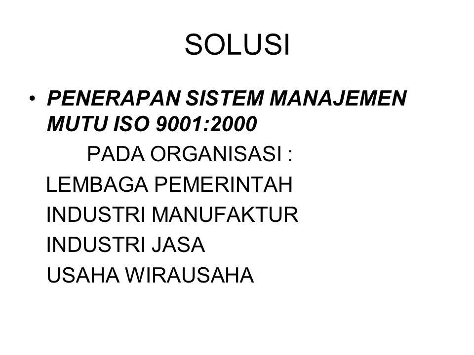 SOLUSI PENERAPAN SISTEM MANAJEMEN MUTU ISO 9001:2000 PADA ORGANISASI : LEMBAGA PEMERINTAH INDUSTRI MANUFAKTUR INDUSTRI JASA USAHA WIRAUSAHA