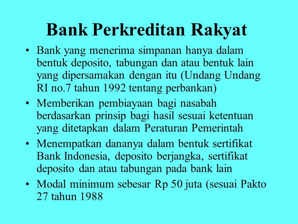 Bank Perkreditan Rakyat Bank yang menerima simpanan hanya dalam bentuk deposito, tabungan dan atau bentuk lain yang dipersamakan dengan itu (Undang Un