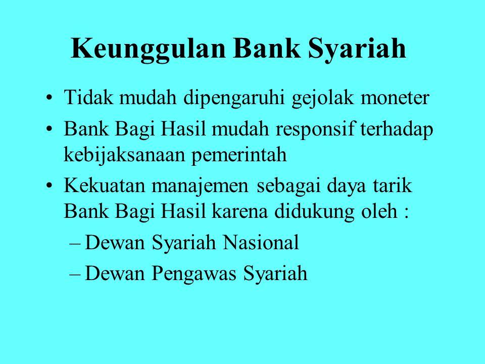 Keunggulan Bank Syariah Tidak mudah dipengaruhi gejolak moneter Bank Bagi Hasil mudah responsif terhadap kebijaksanaan pemerintah Kekuatan manajemen s