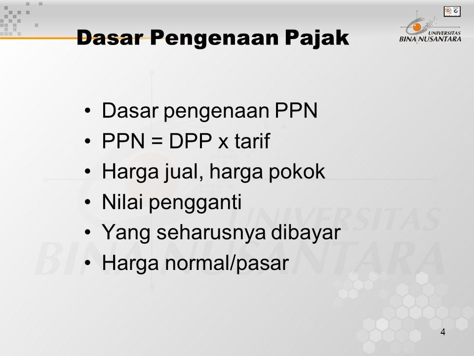 4 Dasar Pengenaan Pajak Dasar pengenaan PPN PPN = DPP x tarif Harga jual, harga pokok Nilai pengganti Yang seharusnya dibayar Harga normal/pasar