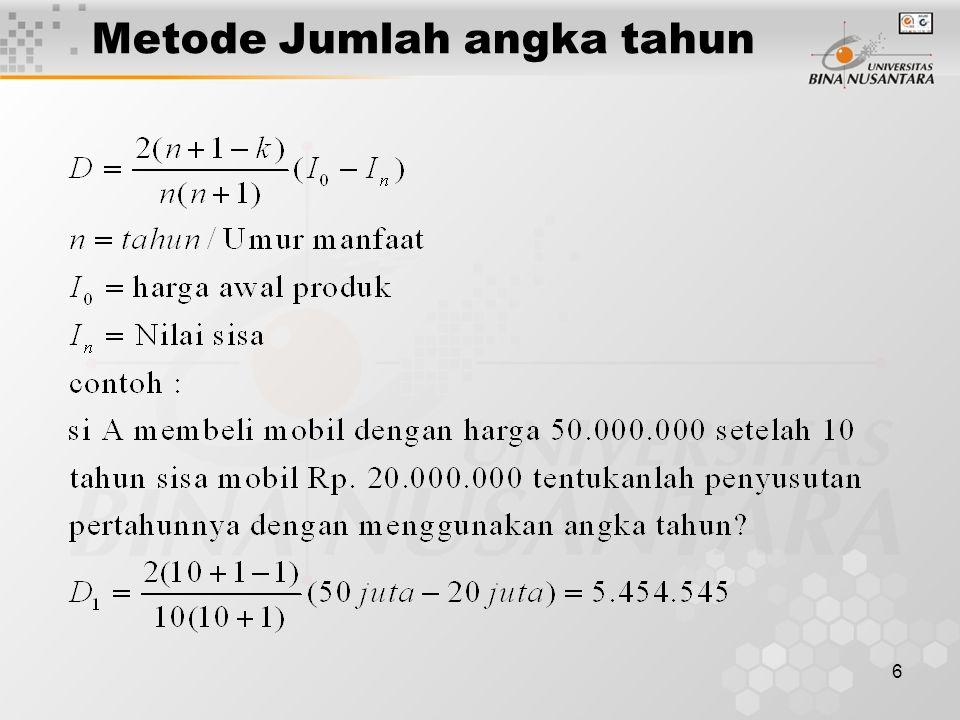 6 Metode Jumlah angka tahun