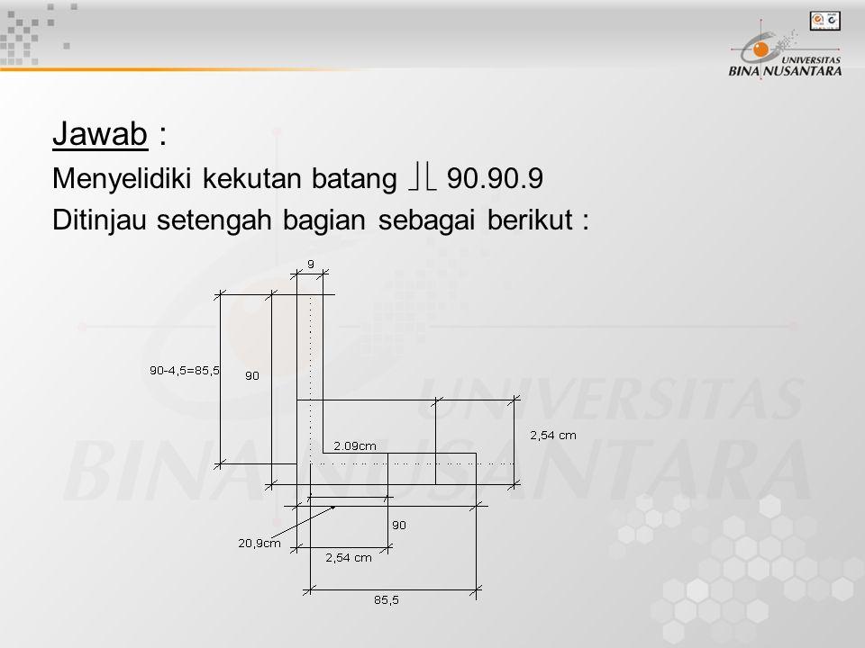 Jawab : Menyelidiki kekutan batang   90.90.9 Ditinjau setengah bagian sebagai berikut :