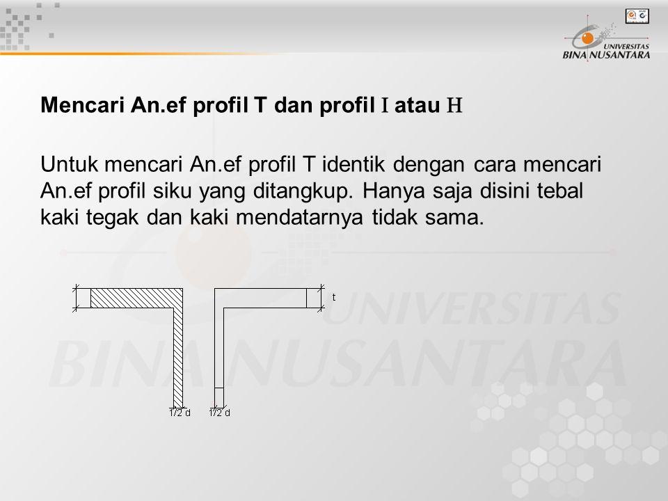 Mencari An.ef profil T dan profil  atau  Untuk mencari An.ef profil T identik dengan cara mencari An.ef profil siku yang ditangkup. Hanya saja disin