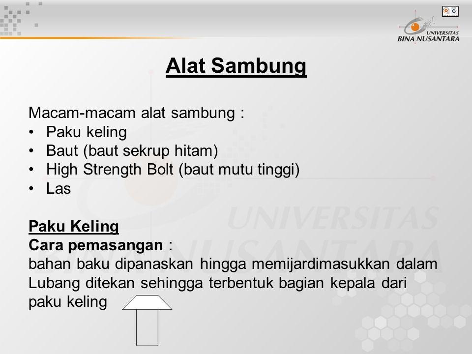 Alat Sambung Macam-macam alat sambung : Paku keling Baut (baut sekrup hitam) High Strength Bolt (baut mutu tinggi) Las Paku Keling Cara pemasangan : b