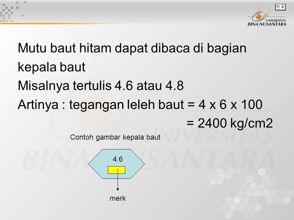 Mutu baut hitam dapat dibaca di bagian kepala baut Misalnya tertulis 4.6 atau 4.8 Artinya : tegangan leleh baut = 4 x 6 x 100 = 2400 kg/cm2 4.6 merk C
