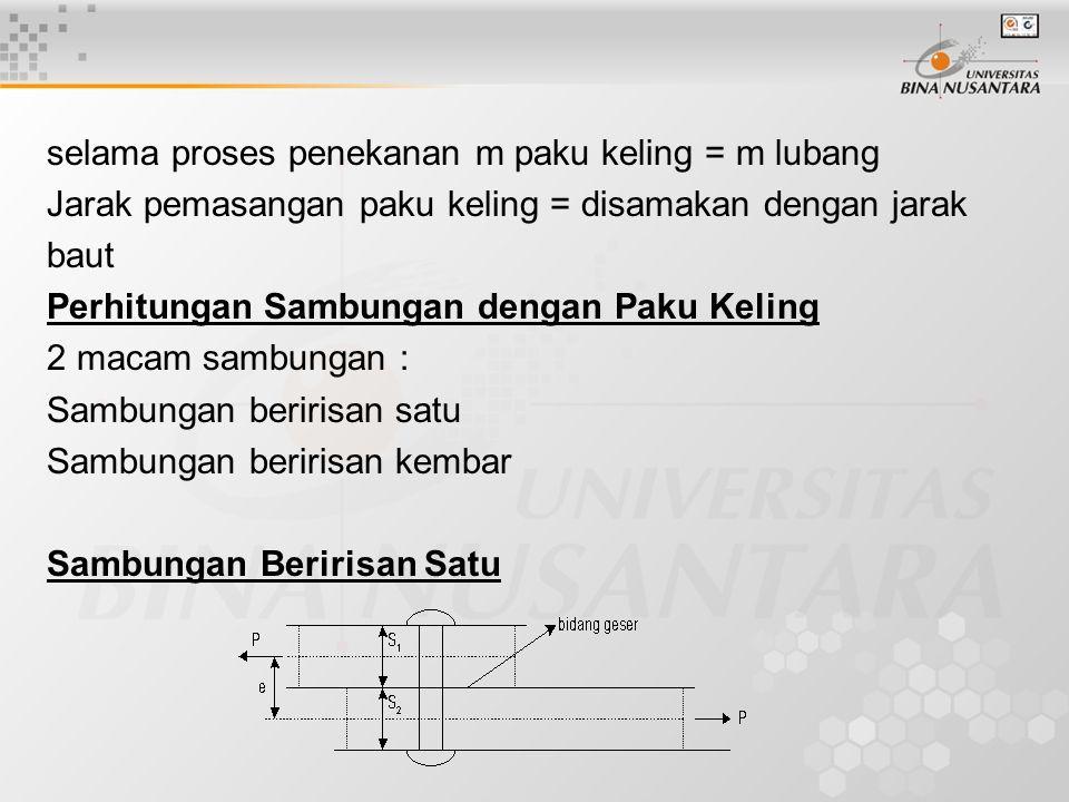selama proses penekanan m paku keling = m lubang Jarak pemasangan paku keling = disamakan dengan jarak baut Perhitungan Sambungan dengan Paku Keling 2