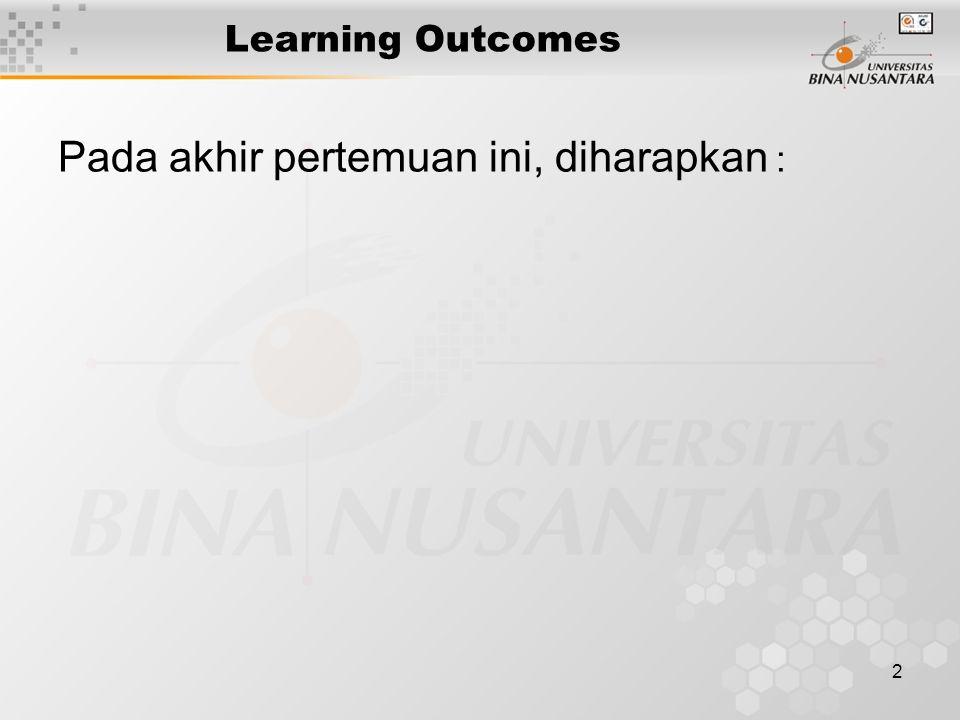 2 Learning Outcomes Pada akhir pertemuan ini, diharapkan :