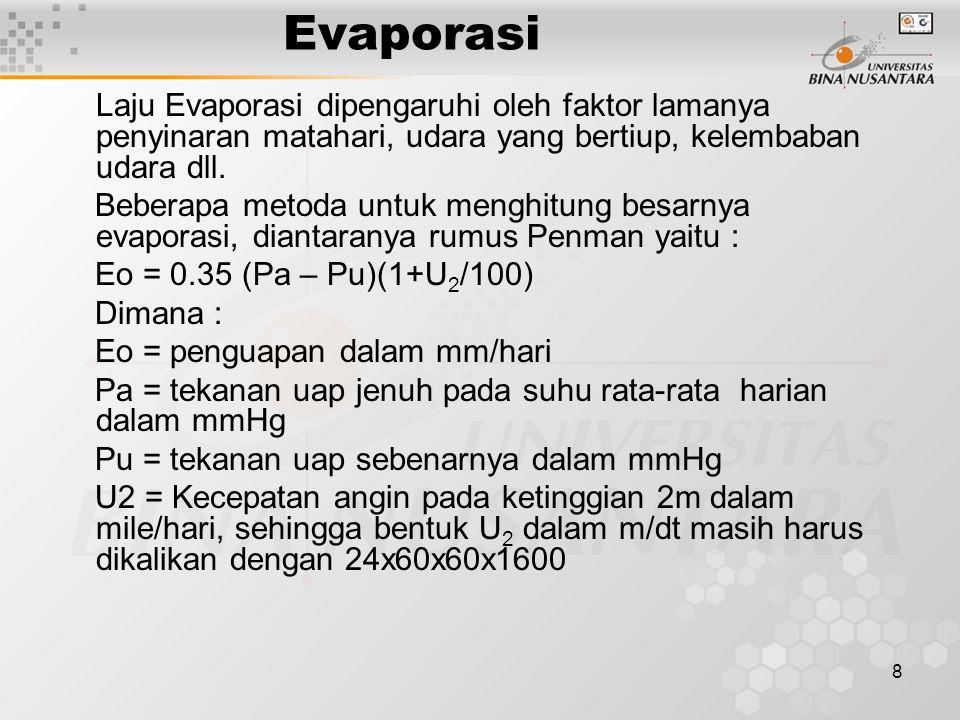 8 Evaporasi Laju Evaporasi dipengaruhi oleh faktor lamanya penyinaran matahari, udara yang bertiup, kelembaban udara dll.