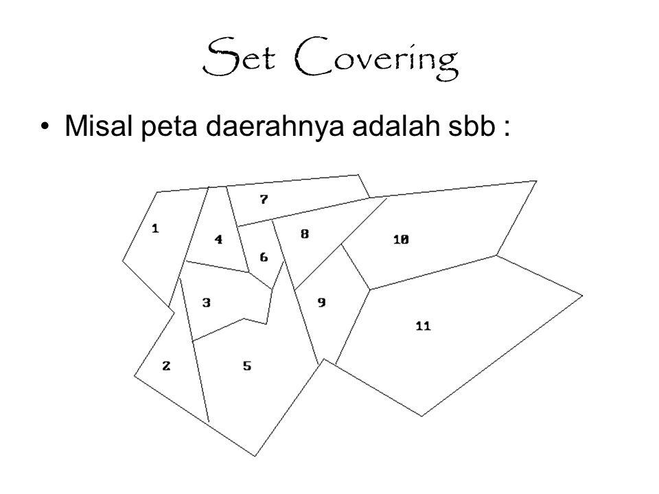 Set Covering Misal peta daerahnya adalah sbb :
