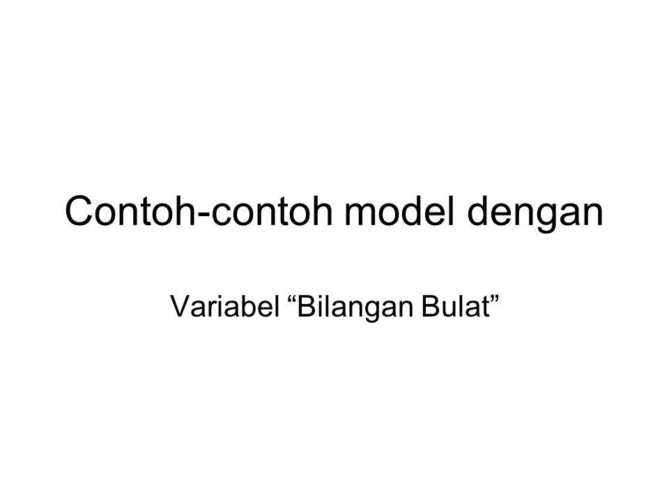 """Contoh-contoh model dengan Variabel """"Bilangan Bulat"""""""