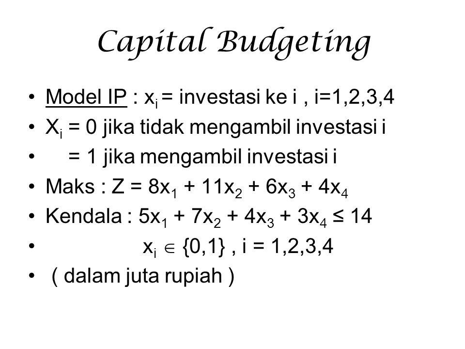 Capital Budgeting Model IP : x i = investasi ke i, i=1,2,3,4 X i = 0 jika tidak mengambil investasi i = 1 jika mengambil investasi i Maks : Z = 8x 1 +