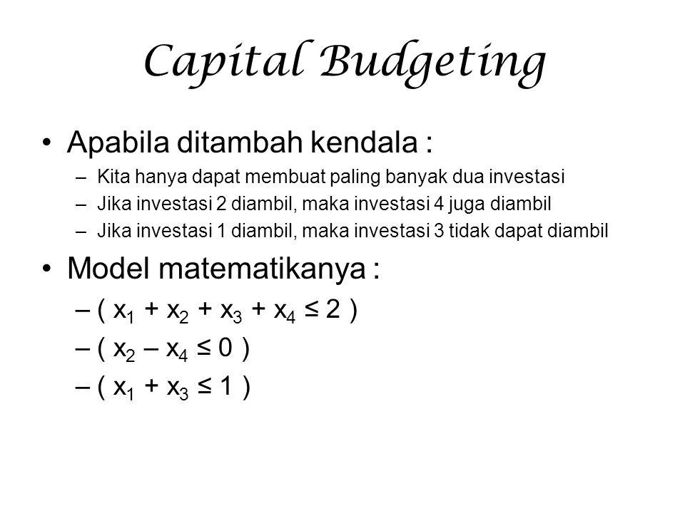 Capital Budgeting Apabila ditambah kendala : –Kita hanya dapat membuat paling banyak dua investasi –Jika investasi 2 diambil, maka investasi 4 juga di