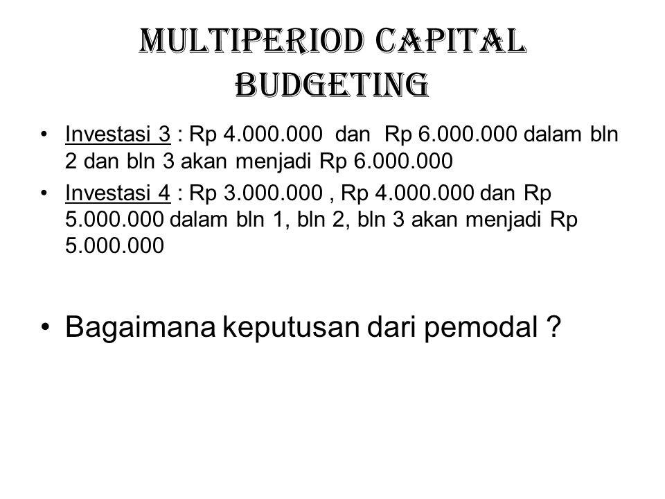 Multiperiod Capital Budgeting Investasi 3 : Rp 4.000.000 dan Rp 6.000.000 dalam bln 2 dan bln 3 akan menjadi Rp 6.000.000 Investasi 4 : Rp 3.000.000,