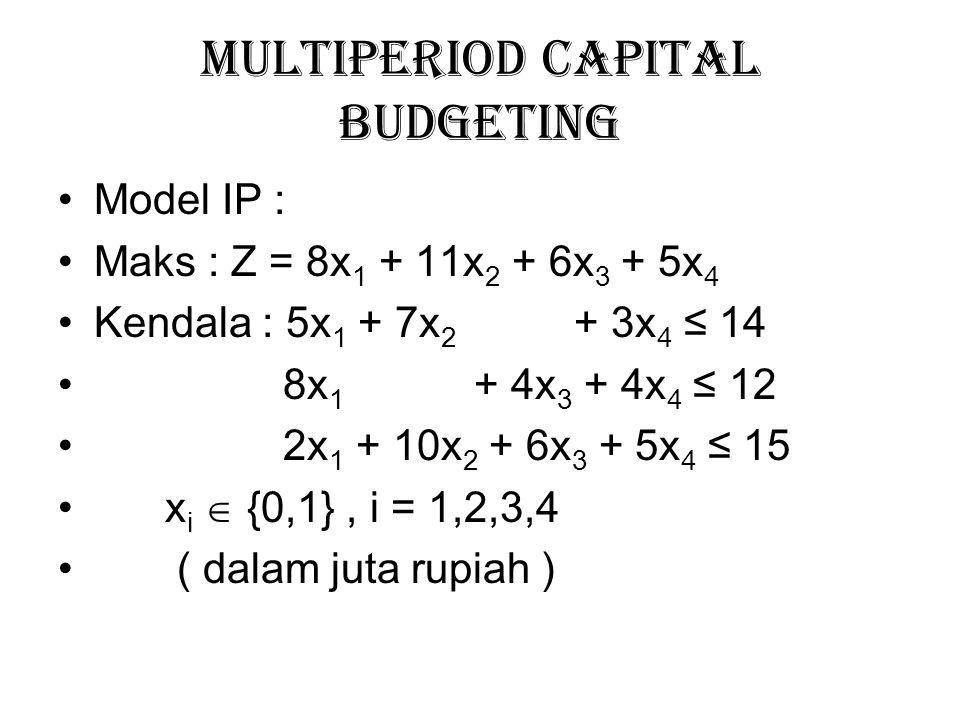 Multiperiod Capital Budgeting Model IP : Maks : Z = 8x 1 + 11x 2 + 6x 3 + 5x 4 Kendala : 5x 1 + 7x 2 + 3x 4 ≤ 14 8x 1 + 4x 3 + 4x 4 ≤ 12 2x 1 + 10x 2