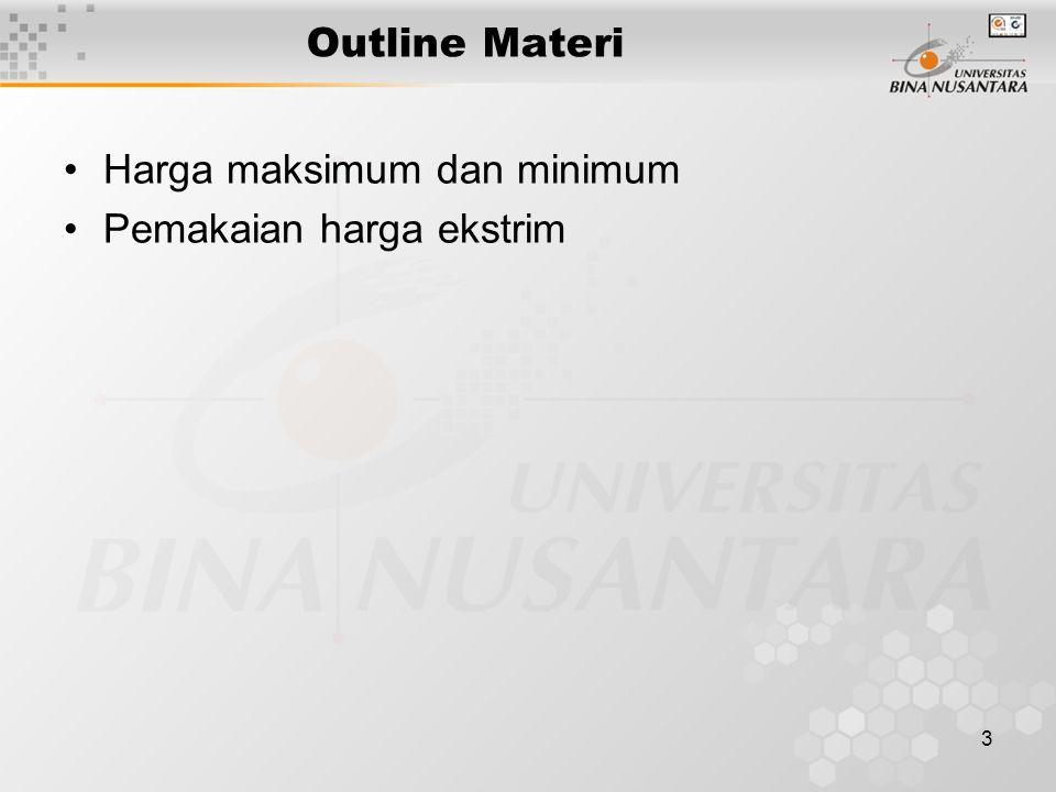 3 Outline Materi Harga maksimum dan minimum Pemakaian harga ekstrim