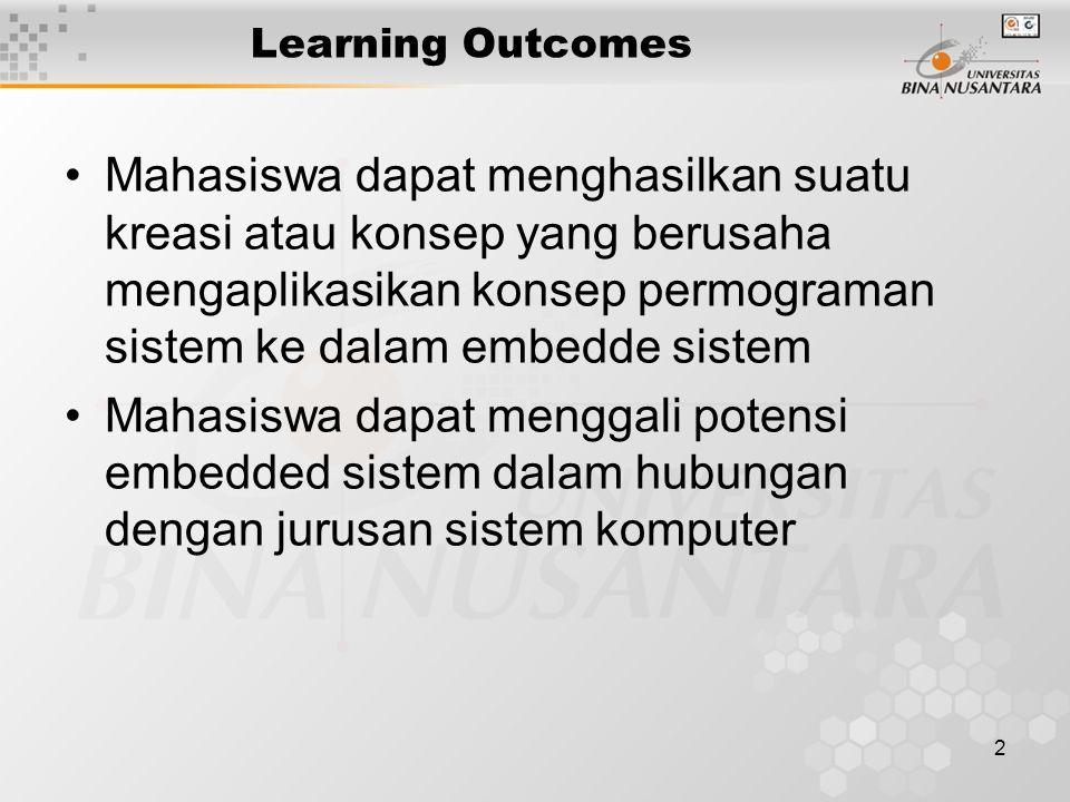 2 Learning Outcomes Mahasiswa dapat menghasilkan suatu kreasi atau konsep yang berusaha mengaplikasikan konsep permograman sistem ke dalam embedde sis