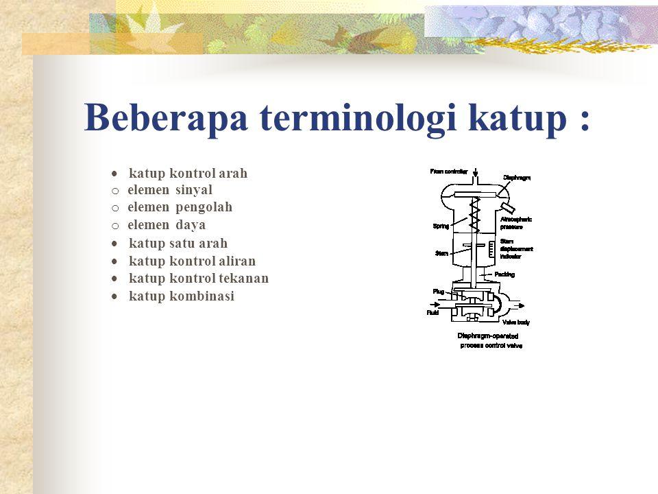 Beberapa terminologi katup :  katup kontrol arah o elemen sinyal o elemen pengolah o elemen daya  katup satu arah  katup kontrol aliran  katup kon
