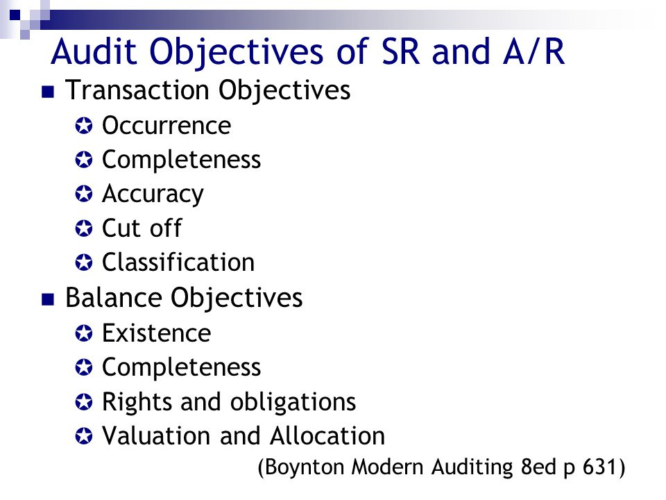 Audit Objectives of SR and A/R Transaction Objectives  Occurrence  Completeness  Accuracy  Cut off  Classification Balance Objectives  Existence