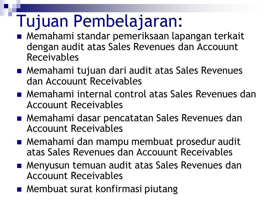 Tujuan Pembelajaran: Memahami standar pemeriksaan lapangan terkait dengan audit atas Sales Revenues dan Accouunt Receivables Memahami tujuan dari audi