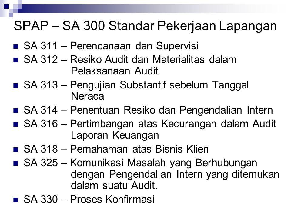 SPAP – SA 300 Standar Pekerjaan Lapangan SA 311 – Perencanaan dan Supervisi SA 312 – Resiko Audit dan Materialitas dalam Pelaksanaan Audit SA 313 – Pe