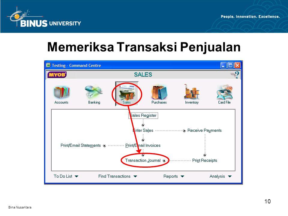 Bina Nusantara Memeriksa Transaksi Penjualan 10