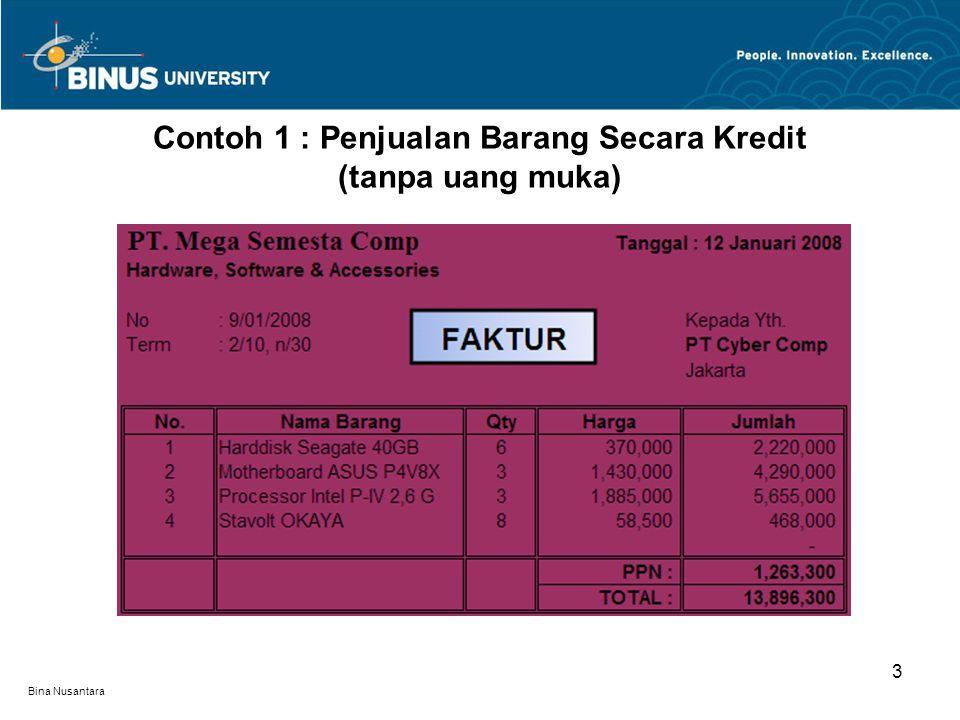 Bina Nusantara Contoh 1 : Penjualan Barang Secara Kredit (tanpa uang muka) 3