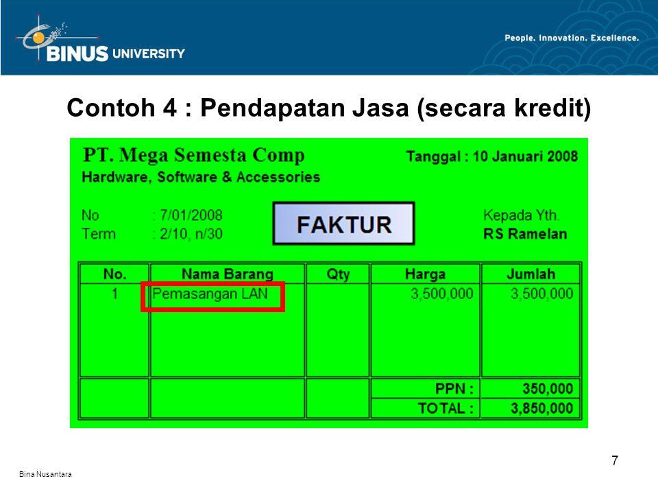 Contoh 4 : Pendapatan Jasa (secara kredit) 7