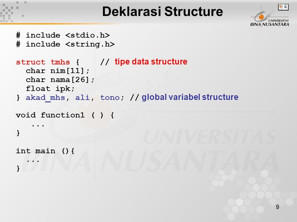 20 Nilai Awal Array of Structure struct tanggal { char nama[31]; int tgl, bln, thn; }; struct tanggal ultah[ ] = { { Tata , 9, 7, 1984}, { Titi , 7, 9, 1986}, { Tutu , 9, 9, 1990} };
