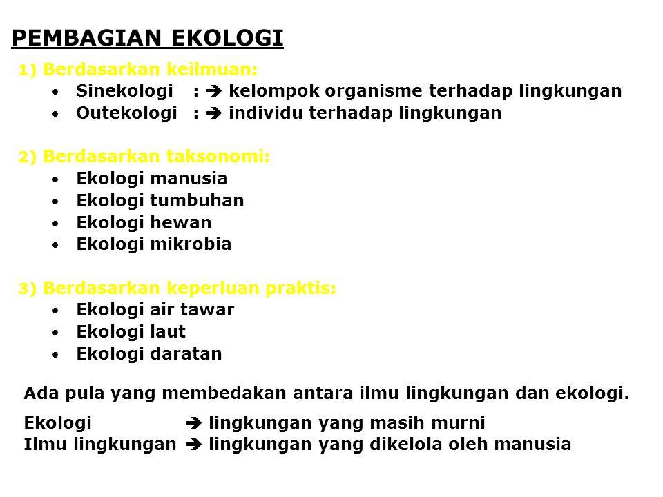 PEMBAGIAN EKOLOGI 1) Berdasarkan keilmuan: Sinekologi:  kelompok organisme terhadap lingkungan Outekologi:  individu terhadap lingkungan 2) Berdasar