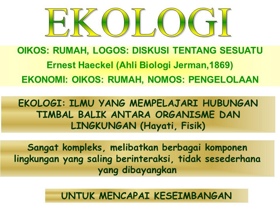 OIKOS: RUMAH, LOGOS: DISKUSI TENTANG SESUATU Ernest Haeckel (Ahli Biologi Jerman,1869) EKONOMI: OIKOS: RUMAH, NOMOS: PENGELOLAAN EKOLOGI: ILMU YANG MEMPELAJARI HUBUNGAN TIMBAL BALIK ANTARA ORGANISME DAN LINGKUNGAN (Hayati, Fisik) Sangat kompleks, melibatkan berbagai komponen lingkungan yang saling berinteraksi, tidak sesederhana yang dibayangkan UNTUK MENCAPAI KESEIMBANGAN