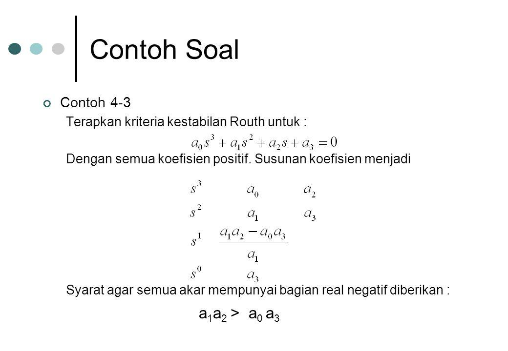 Contoh Soal Contoh 4-3 Terapkan kriteria kestabilan Routh untuk : Dengan semua koefisien positif. Susunan koefisien menjadi Syarat agar semua akar mem